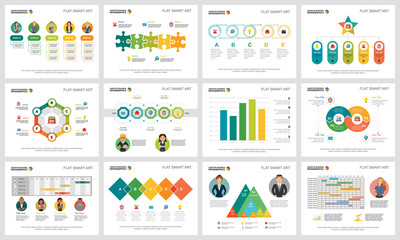 Colorful finance or training concept infographic charts set. Business design elements for presentation slide templates. Can be used for financial report, workflow layout and brochure design.