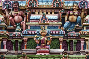 Detail, Hindu temple colourfully decorated with figures and gods, in Rose Belle, Mauritius, Africa