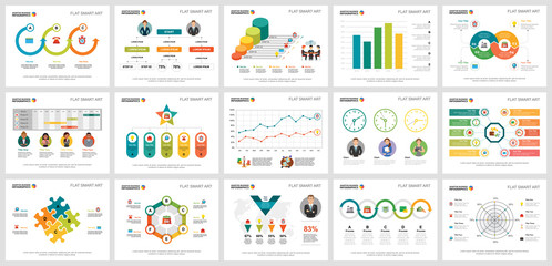 Colorful analytics or consulting concept infographic charts set. Business design elements for presentation slide templates. Can be used for financial report, workflow layout and brochure design.