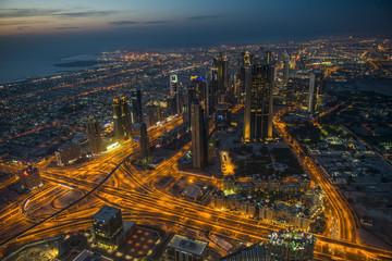 View from Burj Khalifa at night, Dubai, Emirate of Dubai, United Arab Emirates, Asia
