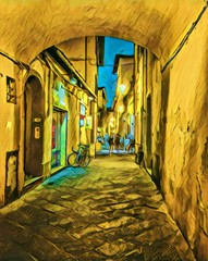 View at vintage Italian street. Old architecture of Italy. Big size oil painting fine art. Modern impressionism drawn artwork. Creative artistic print for canvas or paper. Poster or postcard.