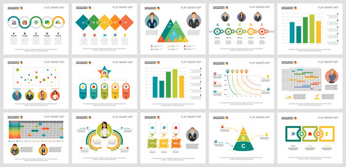 Colorful project or marketing concept infographic charts set. Business design elements for presentation slide templates. Can be used for annual report, advertising, flyer layout and banner design.