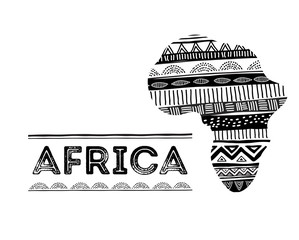 African map silhouette with tribal traditional pattern. Concept design