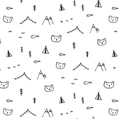 Hand Drawn Funny Pattern Background. Doodle Vector Illustration.