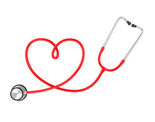 Heart Shaped Stethoscope Isolated