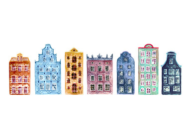 Set of watercolor old europe houses isolated