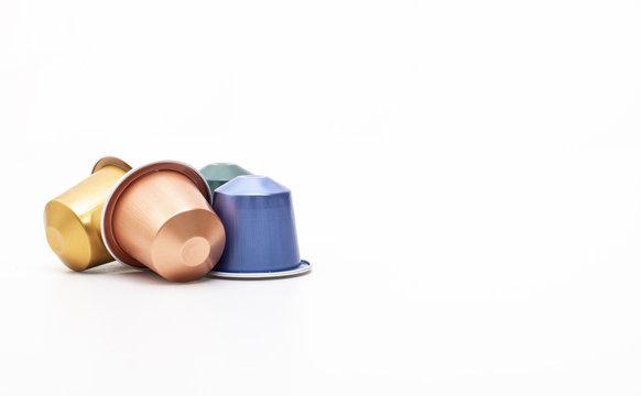 Closeup of colored espresso capsules