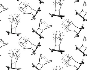 Peace sign, rock n roll hands and shaka hands skateboarding gestures - white seamless pattern