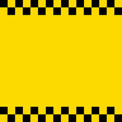 black taxi and checkered square on the yellow background
