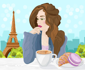 Woman drinking coffee in Paris Vector. Eiffel Tower on the backgrounds