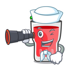 Sailor with binocular strawberry mojito mascot cartoon