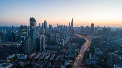 Aerial View of Shanghai city in the dawn