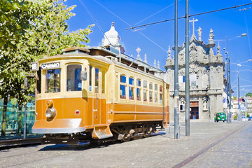 The historical trasportation of Oporto the most important Portuguese city (Europe Portugal) - Art toned image with painted image effect