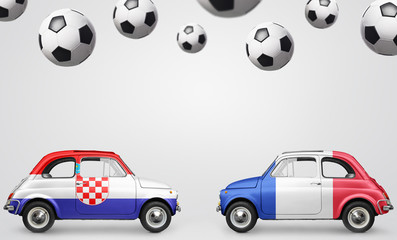 France and Croatia flags on cars with soccer or football balls on gray background