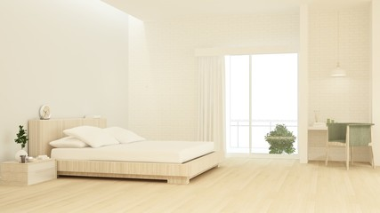 Bedroom interior space furniture 3d rendering and background wall decoration minimal style