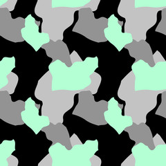 Military camouflage seamless pattern in black, mint green and gray colors