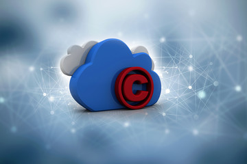 3d illustration copyright symbol lock with cloud computing