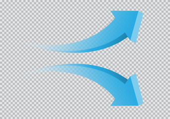 Blue twin arrow 3D curve direction gradient transparent on checkered background sign symbol vector illustration.