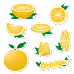Set stickers of fresh citrus sliced and whole orange fruit with skin with green leaves on a white background. The concept of healthy eating.