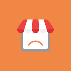 Vector icon concept of shop store with sulking mouth on orange background