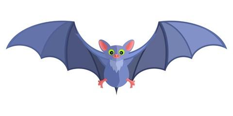 blue cartoon bat bright flat mystical fairy. Stock image vector