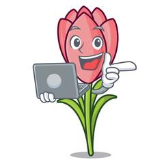 With laptop crocus flower character cartoon