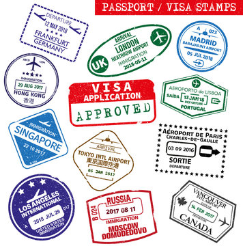 set of grungy visa and passport rubber stamp prints