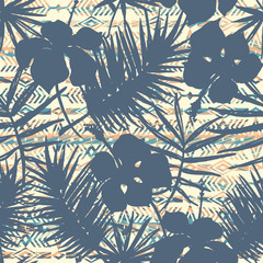 Tribal ethnic seamless pattern with tropical plants.