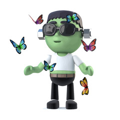Vector 3d Child frankenstein monster surrounded by butterflies