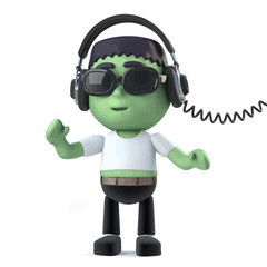 Vector 3d Child Frankenstein listens to music on his headphones