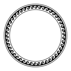 Circle frame, made with running dog pattern. Seamless meander design over white. Waves shaped into repeated motif. Scroll pattern, used as decorative border. Vitruvian wave or Vitruvian scroll. Vector