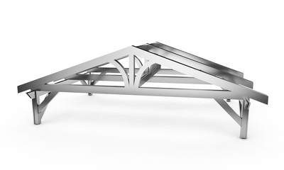 3d illustration of the progress of a roof on a white background