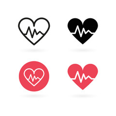 Heartbeat icon set. Electrocardiogram, heart rhythm concept. Vector illustration, flat design