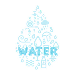 Water icons creating a drop shape. Translucent word water. Vector illustration, flat design.