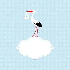 Square Baby Card Boy Stork Black/White Cloud Blue