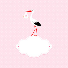 Square Baby Card Girl Stork Black/White Cloud Rose