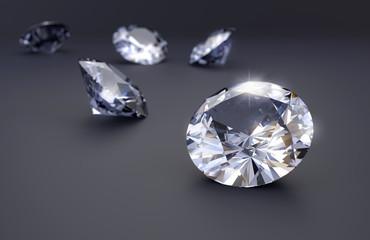 Realistic diamonds on black background, 3D illustration.