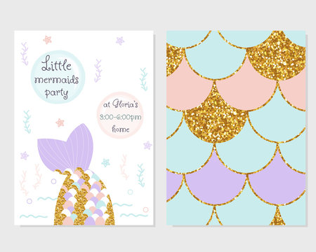Cute party invitation with mermaid tail, scale pattern and gold glitter elements. Vector hand drawn illustration.