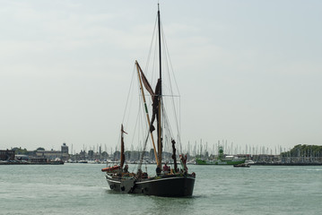View of an old Thames barge, Gunwharf Quays, Portsmouth, UK