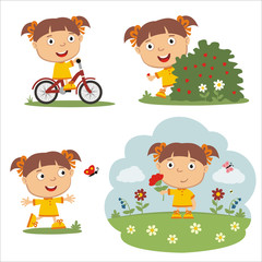 Vector set funny girl in different poses on summer meadow with flowers, isolated on white background.