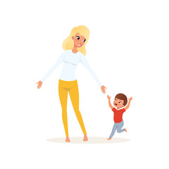 Tired mother and her screaming little son, parenting stress concept, relationship between children and parents vector Illustration on a white background