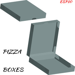 Realistic drawing of cardboard box for pizza. Box is closed and open. Vector illustration in gray color on white background.