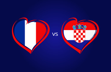 France vs Croatia flags, national team soccer on navy blue background. French and Croatian national flag in a heart, button vector. Football championship final of the competition 2018
