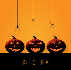 Halloween background with smiling pumpkins on orange background. Trick or treat. Vector illustration.