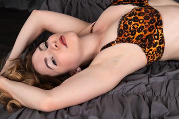 Brunette in leopard print