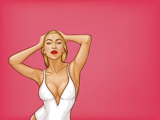 Vector pop art blonde woman with wet hair, blue eyes in white one-piece swimming suit isolated on pink background. Sexy character in underwear for ad poster, promo banner, design illustration.