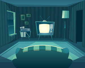 Vector cartoon living room at night. Front view from sofa to TV set, vinyl player. Domestic interior at evening, background. Window, furniture and carpet at flat.