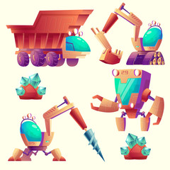 Vector cartoon set of mining machinery for other planets, futuristic devices. Space exploration with robot digger, bagger and truck for minerals. Alien technology, industrial elements