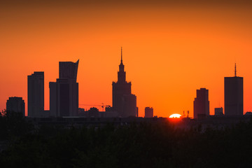 Panorama of skyscrapers in the center of Warsaw at sunrise, Poland