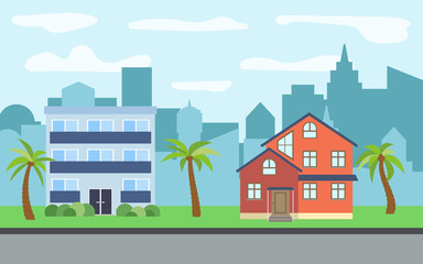 Vector city with two three-story cartoon houses and palm trees in the sunny day. Summer urban landscape. Street view with cityscape on a background